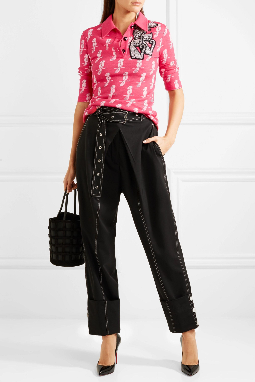 Miu Miu Embellished jacquard-knit wool-blend top