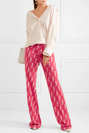 Miu Miu Jacquard-knit wool-blend flared pants