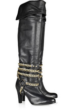 Antik Batik Chain-detail knee-high leather boots