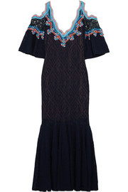 Peter Pilotto Crochet-trimmed stretch-lace midi dress