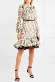 Ruffled studded faux leather-trimmed silk-chiffon dress