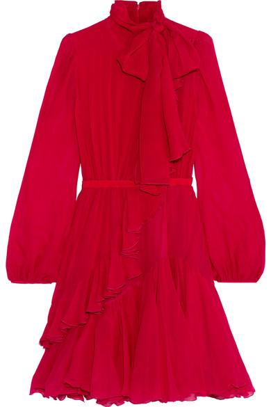 Giambattista Valli - Ruffled Silk-chiffon Dress - Red