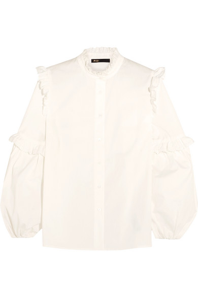 Broderie anglaise-trimmed ruffled cotton blouse