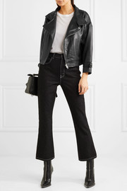 Maje Cropped leather biker jacket