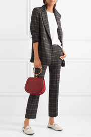 Maje Cropped checked stretch-felt slim-leg pants