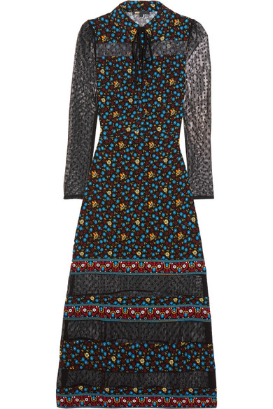 Maje - Swiss-dot Tulle-paneled Printed Crepe De Chine Maxi Dress - Black