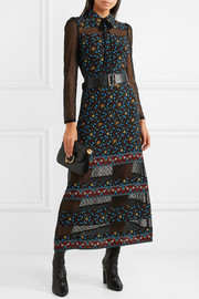 Maje Swiss-dot tulle-paneled printed crepe de chine maxi dress