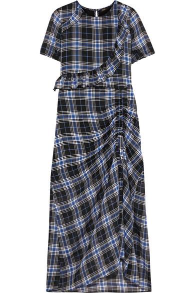 Maje - Ruffled Plaid Chiffon Midi Dress - Blue