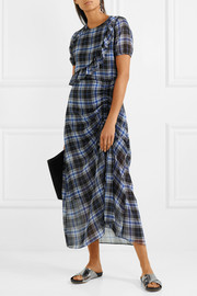 Ruffled plaid chiffon midi dress