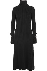 Maje Lace-up ribbed cotton-blend turtleneck dress