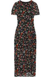 Maje Rancho ruched floral-print chiffon maxi dress
