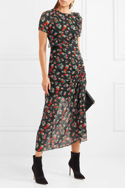 Maje Rancho ruched floral-print chiffon midi dress