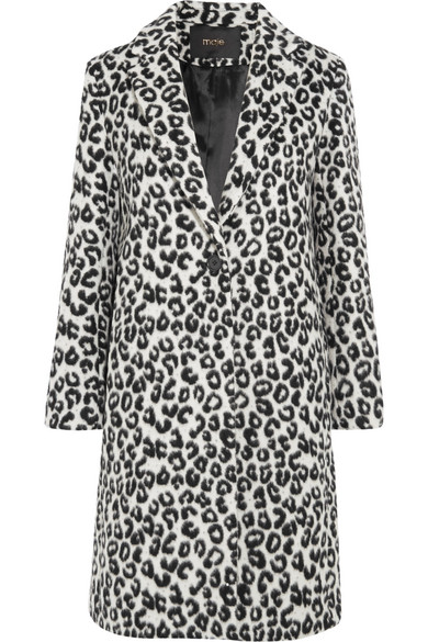 Maje - Leopard-print Brushed-felt Coat - Leopard print