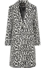 Maje Leopard-print brushed-felt coat