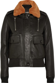 Shearling-trimmed leather bomber jacket
