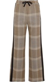 Crepe-trimmed checked tweed wide-leg pants