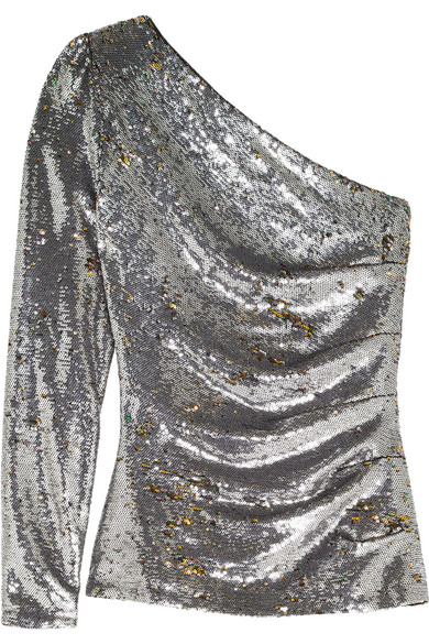 Maje - One-shoulder Sequined Mesh Top - Silver