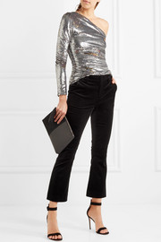 Maje One-shoulder sequined mesh top