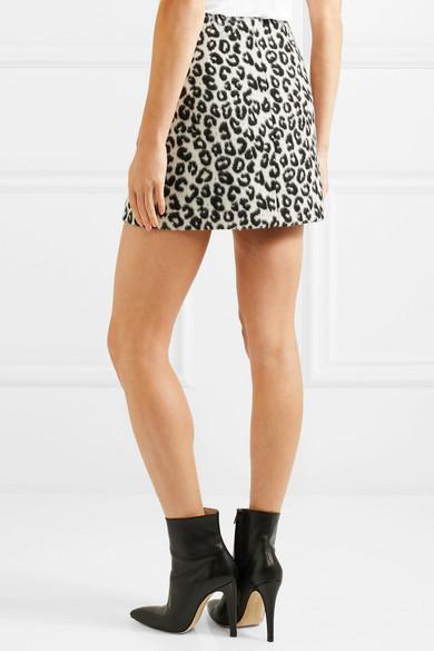 Mini jupe en feutre brossé à imprimé léopard
