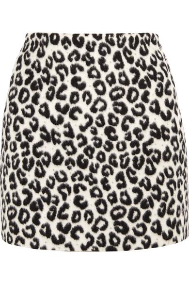 Maje - Leopard-print Brushed-felt Mini Skirt - Leopard print