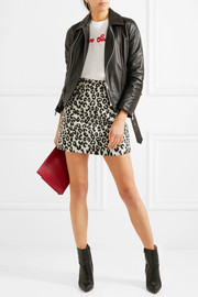 Maje Leopard-print brushed-felt mini skirt