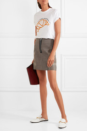 Maje Checked cotton-blend mini skirt
