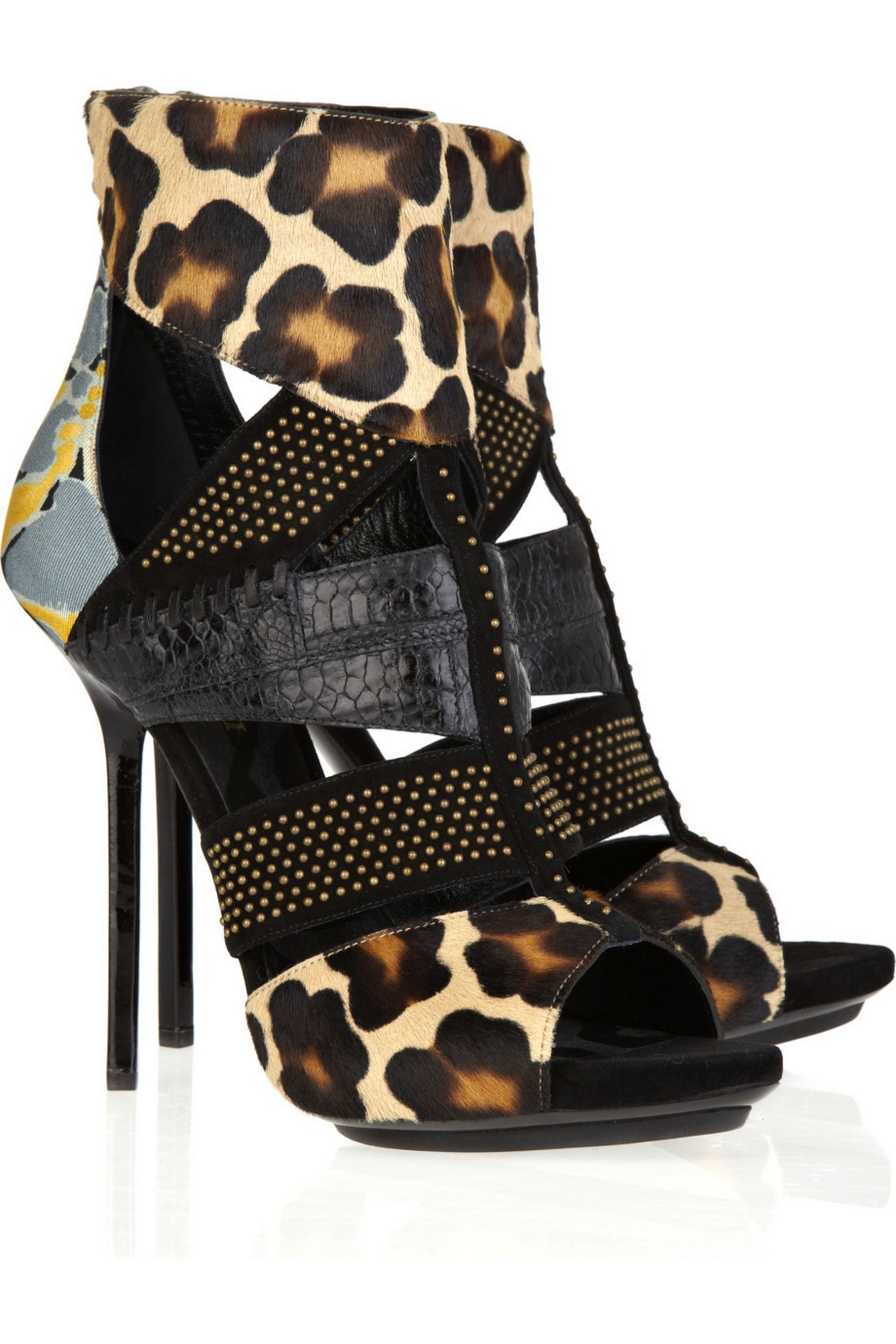 Emilio Pucci Animal-print suede and calf hair sandals