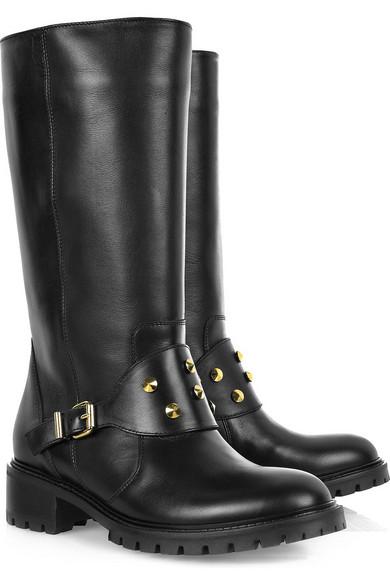 7fac87f472f Spike leather biker boots