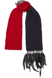 Beaded feather-trimmed wool scarf