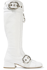 Miu Miu Embellished patent textured-leather knee boots