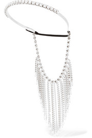 Fringed silver-tone, crystal and bead headband