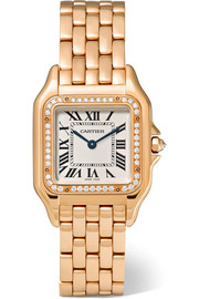 Cartier Panthère de Cartier medium 18-karat pink gold diamond watch