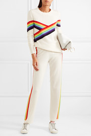 Rainbow cashmere track pants