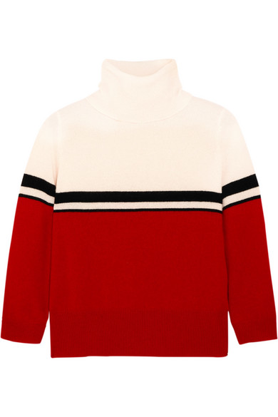 Madeleine Thompson - Amy Color-block Cashmere Turtleneck Sweater - Red