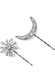 Jennifer Behr Set of two Star and Moon gunmetal-plated Swarovski crystal hair slides