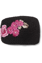 Embroidered knitted headband
