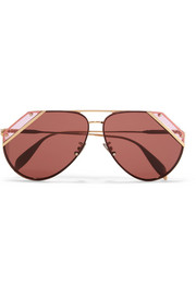 Alexander McQueen Aviator-style gold-tone and acetate sunglasses