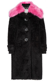Prada Faux fur-trimmed alpaca and wool-blend coat