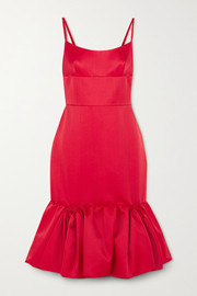 Prada Wool and silk-blend satin peplum dress