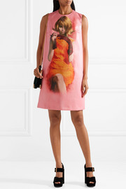 Printed coated-cotton mini dress