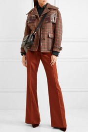 Leather-trimmed studded checked wool-blend tweed jacket