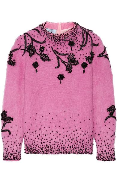 Prada Pullover aus einer Mohairmischung mit Zierperlen