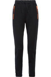 Leather-trimmed cotton-blend jersey track pants
