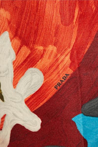 Prada Pants Printed wool and silk-blend straight-leg pants