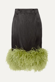 Feather-trimmed satin midi skirt
