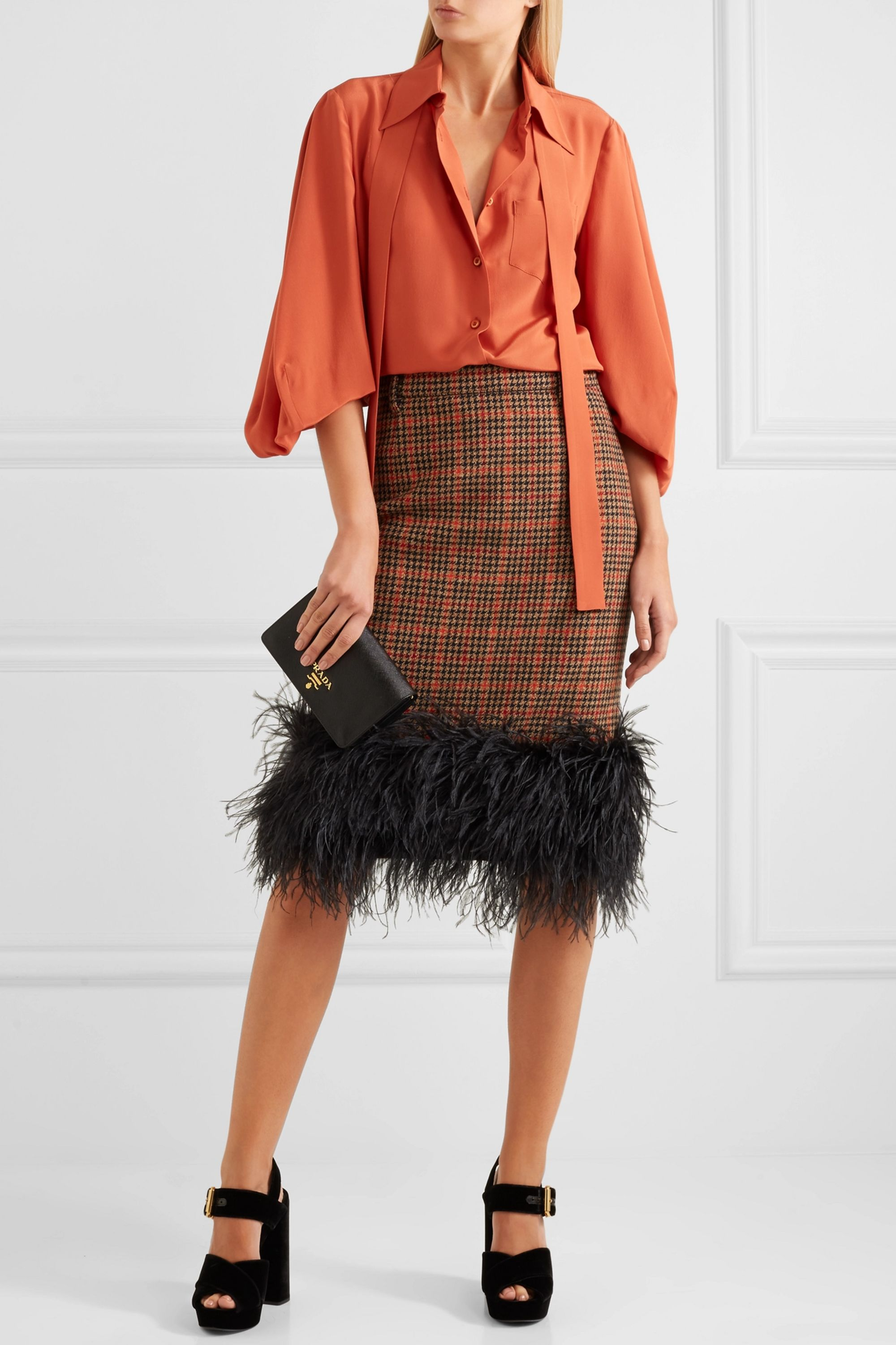Prada Feather-trimmed checked wool-blend tweed skirt