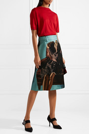 Printed wool and silk-blend skirt