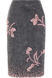 Embellished mohair-blend pencil skirt