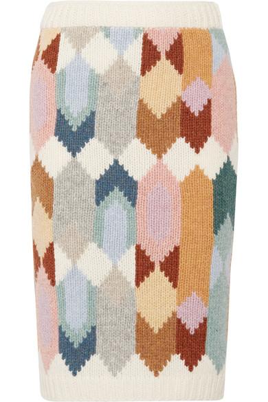 Prada - Intarsia Wool Midi Skirt - Ivory