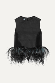 Prada Feather-trimmed wool and silk-blend top
